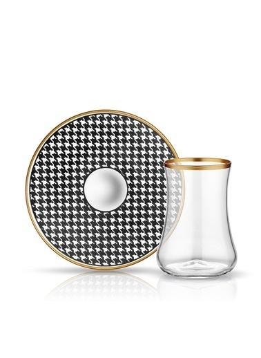 Dervish Çay Set 6'lı Ekose Siyah-Koleksiyon